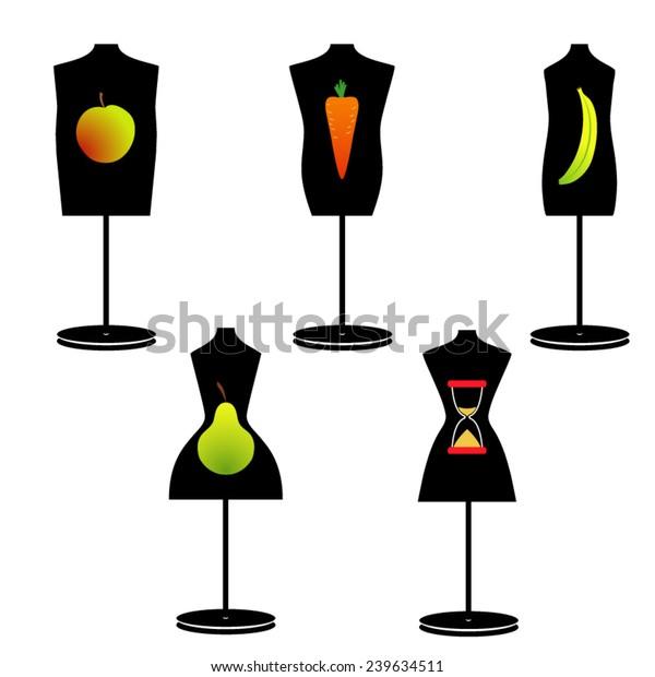 different model of female figures - apple, pear, carrot, banana, minute-glass