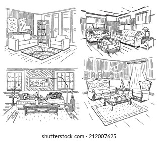 Different modern house interiors vector drawings set on white background