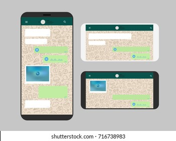 Different modern smartphone with messenger app