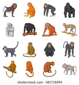 Different monkeys icons set. Cartoon illustration of 16 different monkeys vector icons for web