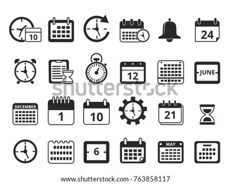 Different Monochrome Symbols Time Management Vector Stock Vector