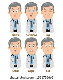 Different moods of silver haired physician in lab coat: neutral, surprised, joy, shock, anger, sad. Set of male emotions, emoji for animation. Cartoon illustration isolated on white background.