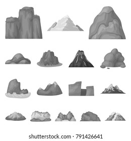 Different mountains monochrome icons in set collection for design.Mountains and landscape vector symbol stock web illustration.