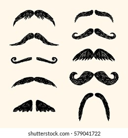 Different moustache. Vector hand drawn illustration in sketch style