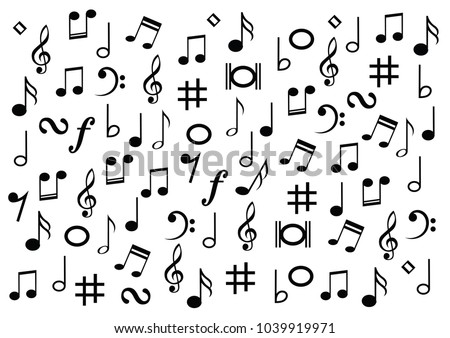 Different Musical Symbol Music Note Background Stock Vector Royalty