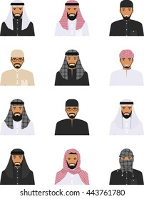 Different muslim arab people characters avatars icons set in flat style isolated on white background. Differences islamic saudi arabic ethnic man smiling faces in traditional clothing. Vector.