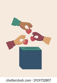 Different nationalities people donating for charity illustration. Solidarity concept. Hands putting a heart in a donation box. Vector.