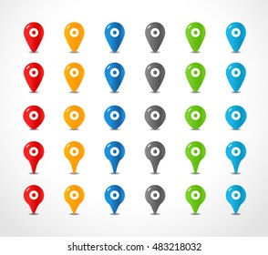 Different navigation pins color collection