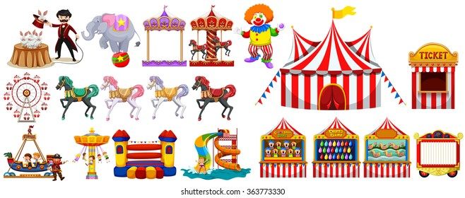 Different objects from the circus illustration