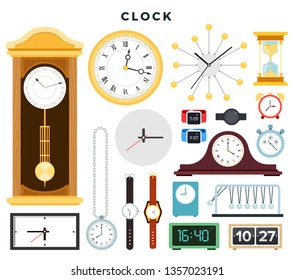 Different old and modern clocks and hand watches, set. Various time measuring devices: mechanical and electronic clock, hourglass, wall clock, wrist watch, alarm clock, stopwatch. Vector illustration.