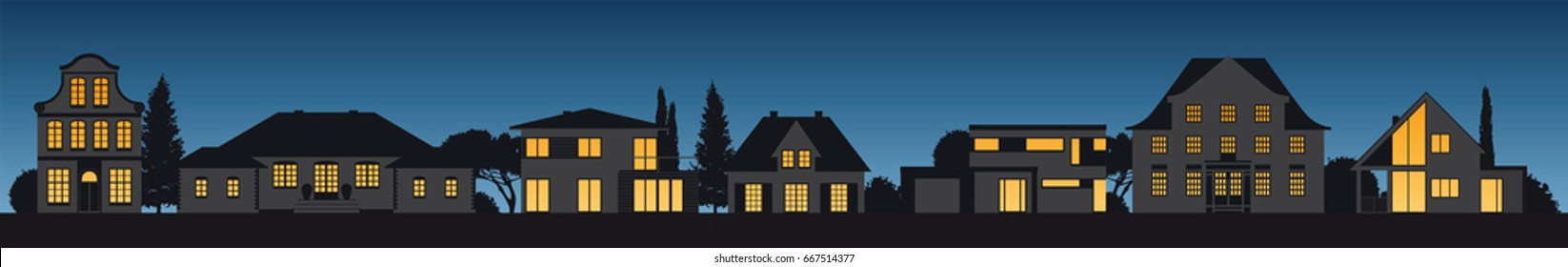different old and modern vector house facades illuminated by night