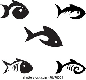 Different options of the stylized fishes on a white background.