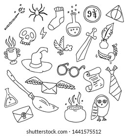 Different outline elements for witches at school of magic in doodle style. Vector illustration - Vector