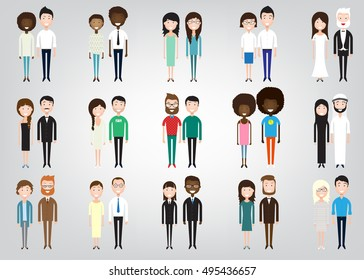 different pairs of two people on a white background in similar clothes