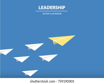 A different paper rocket flying out from others. Business concept of talent, leadership, teamwork, creativity and recruitment. Vector illustration.