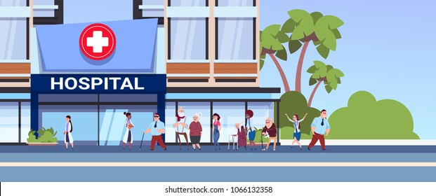 Different Patients Walking To New Modern Hospital Building Medical Clinic Concept
