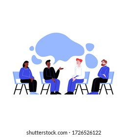 Different people attending a group therapy session. Conversation between four people