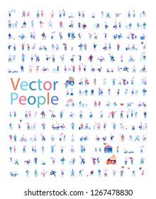 Verschiedene Menschen Zeichen große Vektorset. Flache Vektorgrafik einzeln auf Weiß.