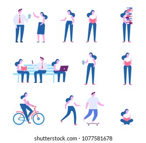 Different people characters. Set 1. Flat vector illustration isolated on white.