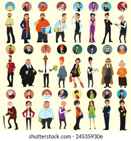 different people in full-length and different poses. avatars and icons. people's faces. vector illustration of a flat style for your design.