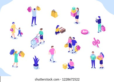 Different people with gift boxes and shopping bags. Can use for web banner, infographics, hero images. Flat isometric vector illustration isolated on white background.