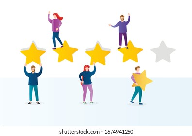 Different people give feedback ratings and reviews.Characters hold stars above their heads.Evaluation of customer reviews.Five star rating.Customers evaluating a product, service.Vector illustration.
