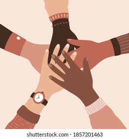 Different people holding hands in stop racism movement Vector illustration