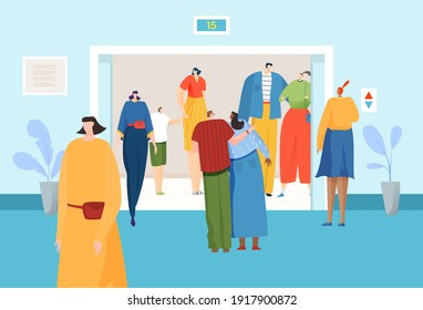 Different people inside elevator on fiftieth floor, women in smart suits, office building, design flat style vector illustration. Girls and boys go down to exit from business building, end working day