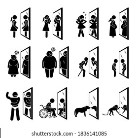 Different people looking into mirror of themselves. Vector illustrations of woman, overweight people, old man, child, muscular man, handicapped, dog, and monkey seeing a reflection of themselves.