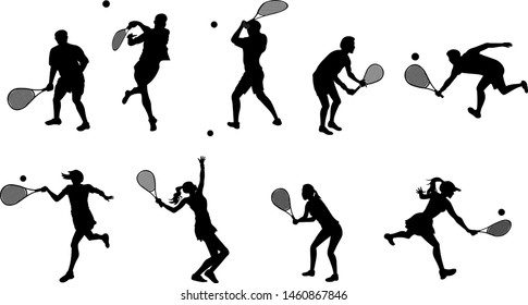 Different people playing tennis silhouette isolated on white background
