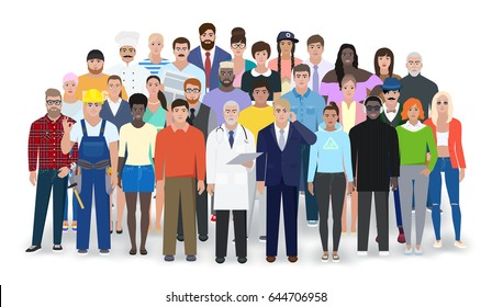 Different people, different professions in the group, vector illustration