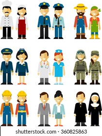 Different people professions occupation characters man and woman set in flat style isolated on white background