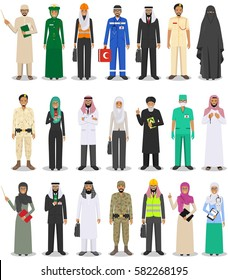 Different people professions occupation characters man and woman set in flat style isolated on white background. Templates for infographic, sites, banners, social networks. Vector illustration