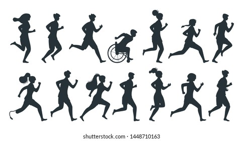 Different people running isolated vector silhouette illustration set. Equality in sports monochrome concept. Fitness hobby joggers pack, collection. Special needs sportsmen, professional athletes