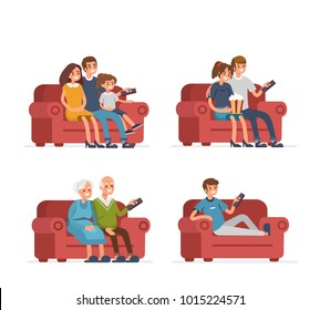 Different people sitting on sofa and watching TV. Flat style illustration isolated on white background.