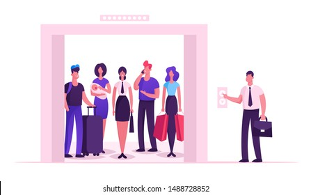 Different People Standing in Elevator with Open Doors. Group of Various Men and Women Waiting Inside Lift Stopped on Floor of Building with Male Character Push Button. Cartoon Flat Vector Illustration
