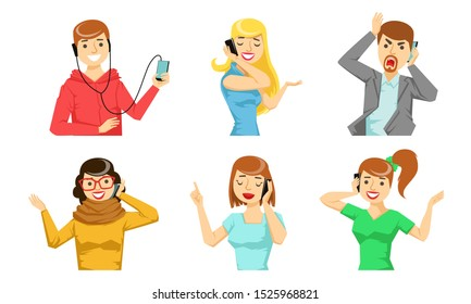 Different People Talking on Smartphones Set, Cheerful Young Men and Women Characters Calling by Phones Vector Illustration