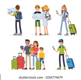 Different people travel on summer vacation. Flat style vector illustration isolated on white background.