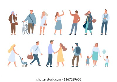 Different People vector background. Man and woman flat cartoon characters. Walking people isolated on white background.