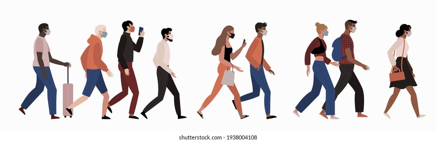 Different people walking wearing face masks isolated on white background. Man and women in respirators. Protection from coronavirus outbreak.