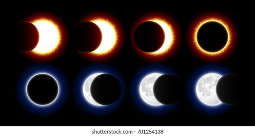 Different phases of solar and lunar eclipses vector illustration