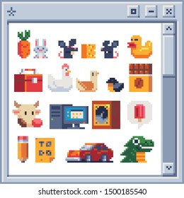 Different pixel art  illustration for video games. Design for logo, poster, sticker and app. Isolated vector. carrot and hare, mouse and cheese, duck, box, chicken and bird, chocolate, cow, computer.