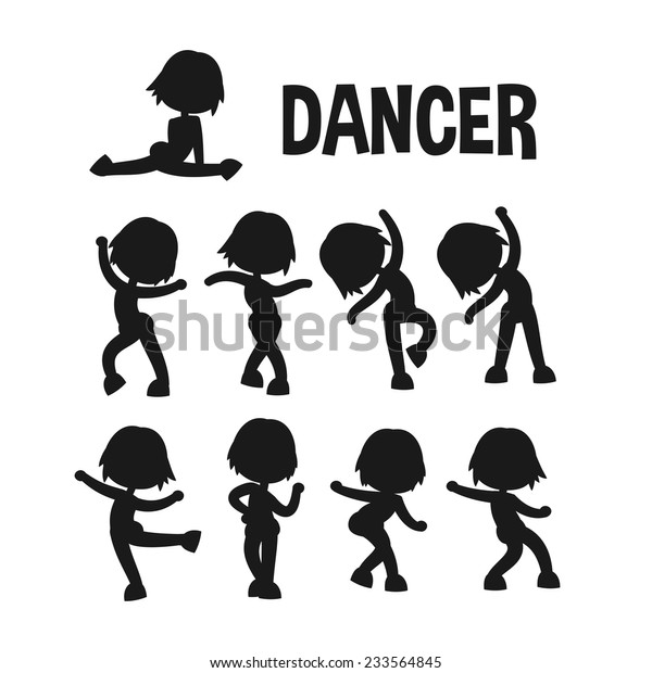 Different Poses Dancer Silhouette Set Cartoon Stock Vector Royalty Free 233564845