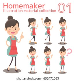 Different poses of the whole body, illustration set of a homemaker