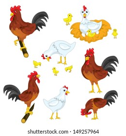 different positions of chicken, rooster and chick. vector file
