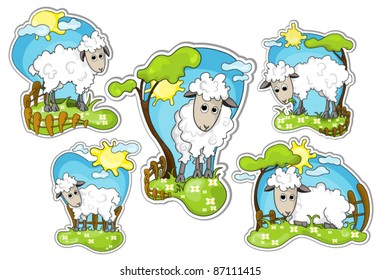 different positions of little sheep in grassland : vector stickers
