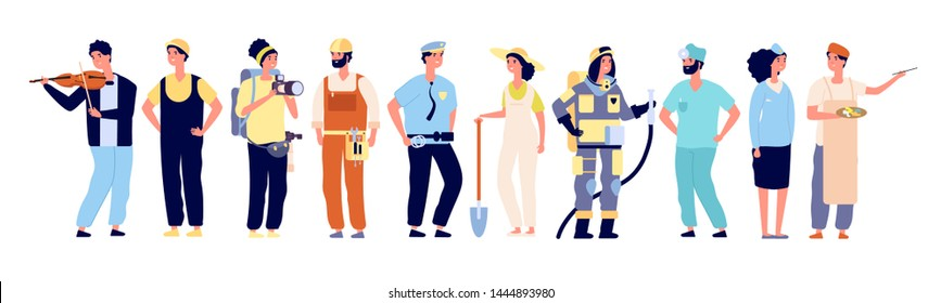 Different professionals. Policeman and fireman, doctor and stewardess, artist and musician, builder. Workers vector characters. Illustration of character fireman and doctor, builder and photographer