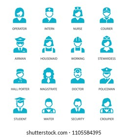 Different professions avatars vector icons
