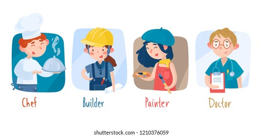 Different professions. Cook, builder, artist, doctor. Children's characters. Vector illustration
