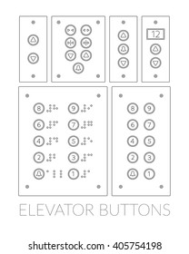 Different push-button control panel lifts in a linear style. With Braille.